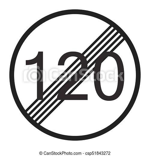 End maximum speed limit 120 sign line icon - csp51843272