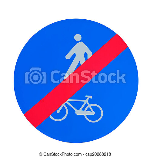 end of bike and pedestrian lane sign on white - csp20288218