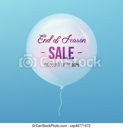 End Of Season Sale Sign Sale And Balloon Isolated Vector