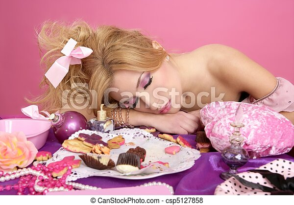 end party pink princess barbie fashion woman sleeping - csp5127858