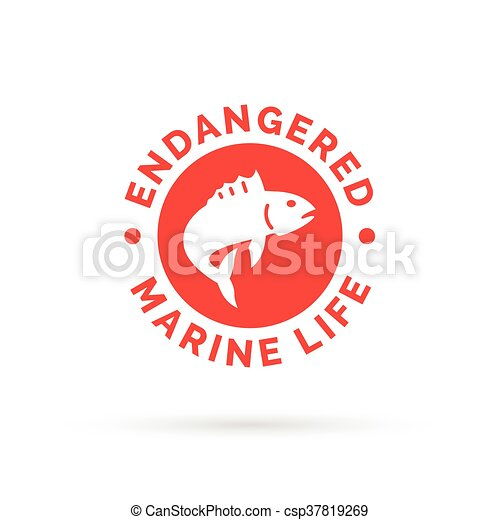 Endangered Fish Icon Endangered Marine Species Sign Over Fishing