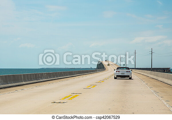 Endless infinite road from Miami to Key West across the Atlantic ocean - csp42067529