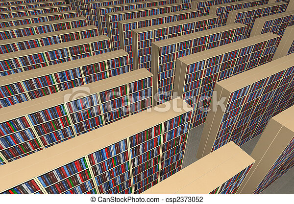 Endless Library An Infinite With Rows Of Bookshelves Filled