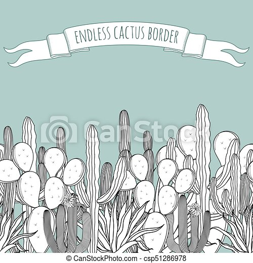 Endless Border Set Of Vintage Black White Succulent Cactus With A Ribbon Vector Illustration