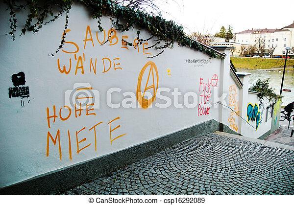 enduit, mur, jardin - csp16292089