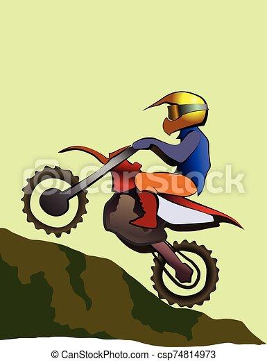 enduro, arriba, offroad, jinete, colina, motocicleta - csp74814973