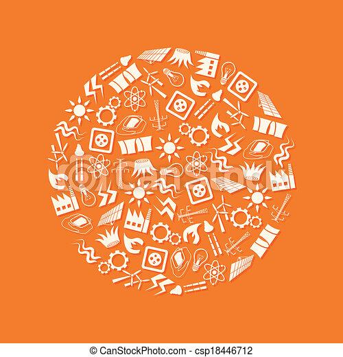 energía, círculo, iconos - csp18446712