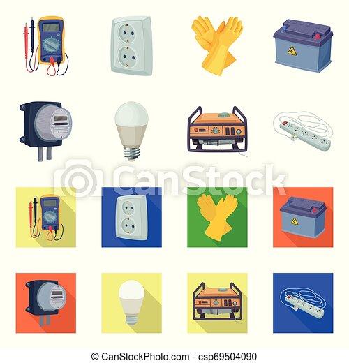 Ilustración de vectores de electricidad y señal eléctrica. La colección de energía y electricidad simbolizan la web. - csp69504090