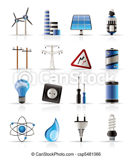 Electricidad, energía y iconos de energía - csp5481066