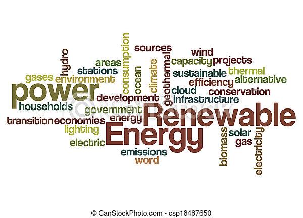 energía, palabra, renovable, nube - csp18487650
