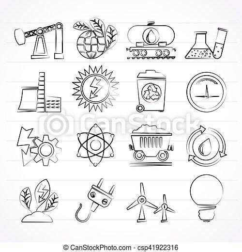 Icos de producción de energía y energía - csp41922316