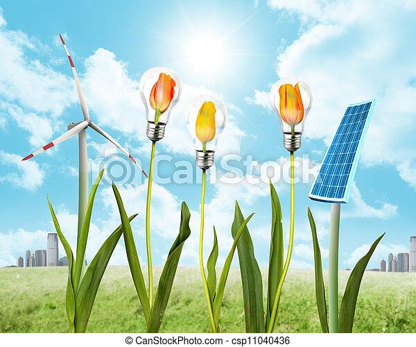 Panel solar y energía eólica - csp11040436