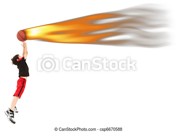 Energetic Boy Child Jumping to Catch Basketball on Fire - csp6670588