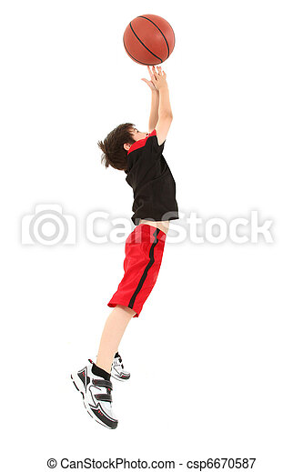 Energetic Boy Child Jumping with Basketball - csp6670587