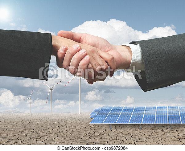 energi, handhsake, förnybart - csp9872084