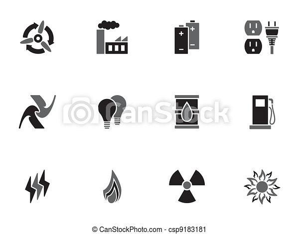 energia, jogo, ícones - csp9183181