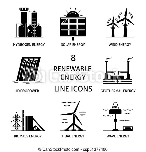 energia, jogo, silueta, renovável, ícones - csp51377406