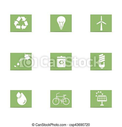 energia, jogo, verde, ícones - csp43690720