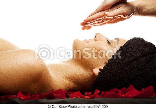 energia, massagem facial - csp6974209