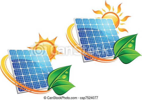 energia, painel, solar, ícones - csp7524077