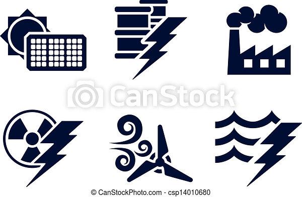 energia, poder, ícones - csp14010680