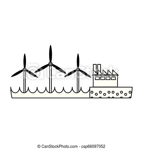 energia, turbinas, verde, pretas, branca, vento - csp66097052