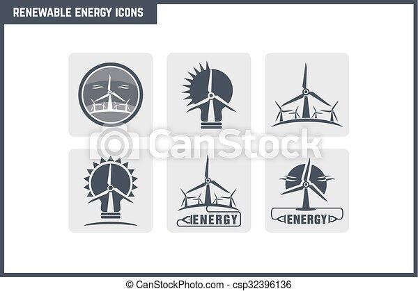 energia, vetorial, jogo, renovável, ícone - csp32396136