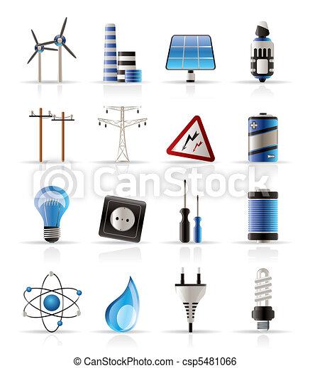 energia, villanyáram, erő, ikonok - csp5481066