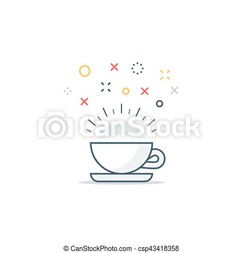 Energizing drink, refreshing tea and coffee cup - csp43418358