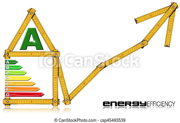 Energy Efficiency A - Ruler in the Shape of House - csp45493539