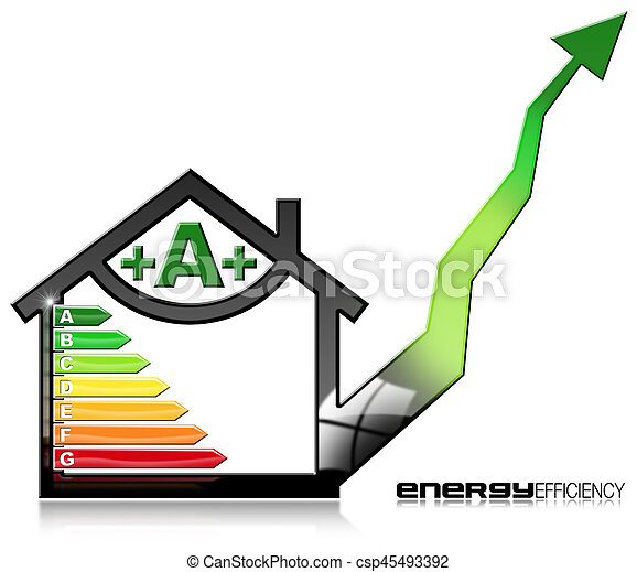 Energy Efficiency A - Symbol in the Shape of House - csp45493392
