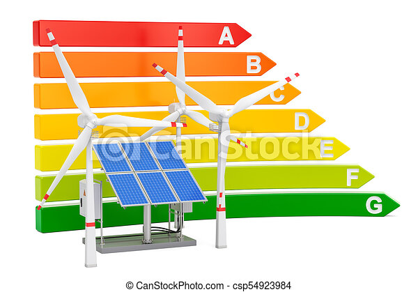 Energy efficiency chart with solar panels and wind turbines, 3D rendering - csp54923984