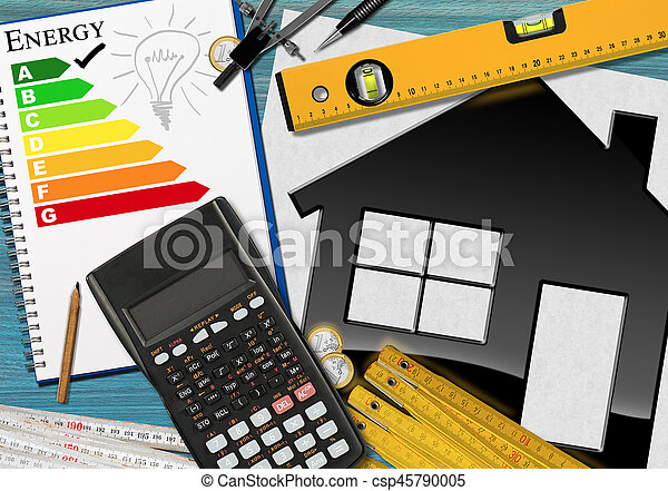 Energy Efficiency Rating with Calculator and House - csp45790005