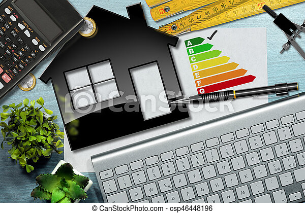 Energy Efficiency Rating with House Model - csp46448196