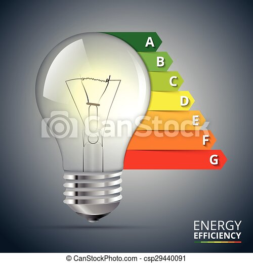 Energy efficiency rating with lightbulb. - csp29440091