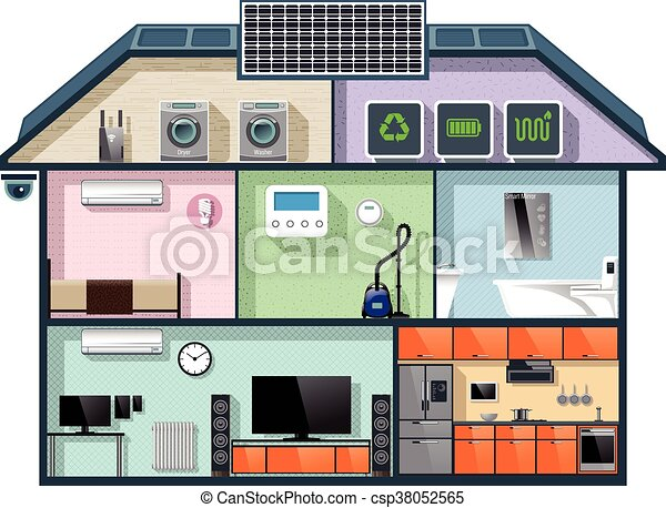 Energy efficient house cutaway - csp38052565