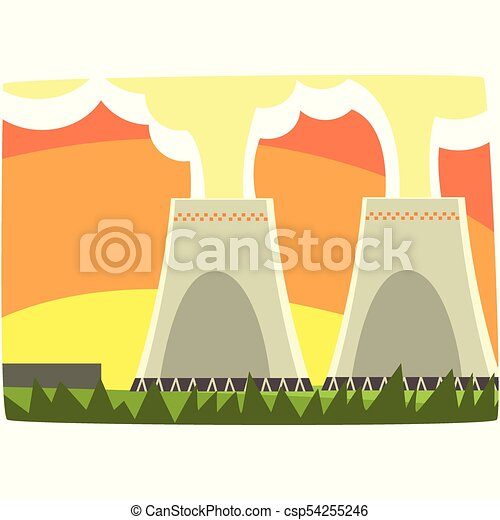 Energy generation power station, nuclear energy, horizontal vector illustration - csp54255246