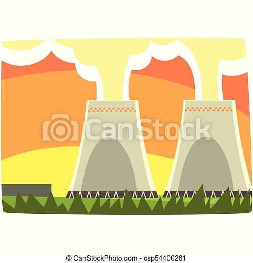 Energy generation power station, nuclear energy, horizontal vector illustration - csp54400281
