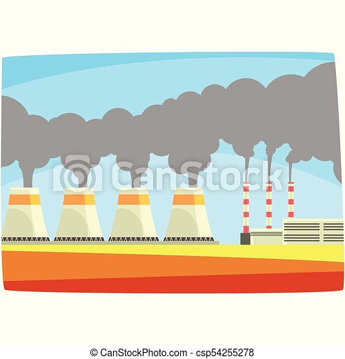 Energy generation power station, thermal or nulear power plant, horizontal vector illustration - csp54255278