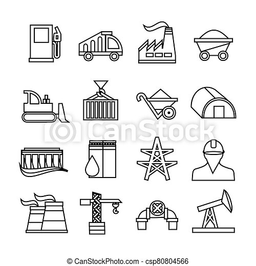 Energy industry icons set. Trendy flat style for graphic design, web-site. Stock Vector illustration. - csp80804566