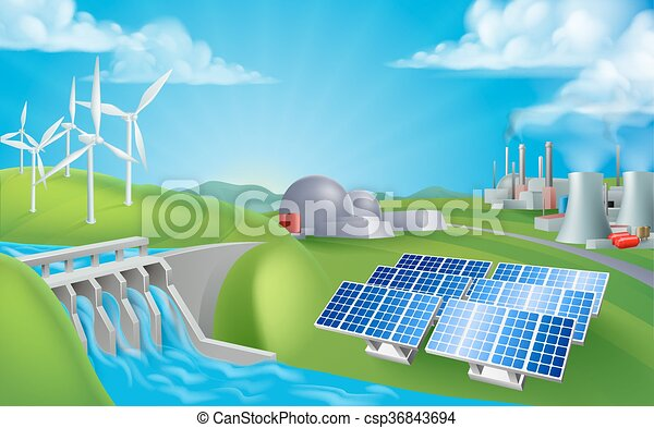 Energy Power Generation Sources - csp36843694