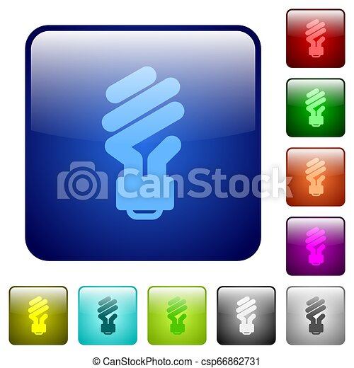 Energy saving fluorescent light bulb color square buttons - csp66862731