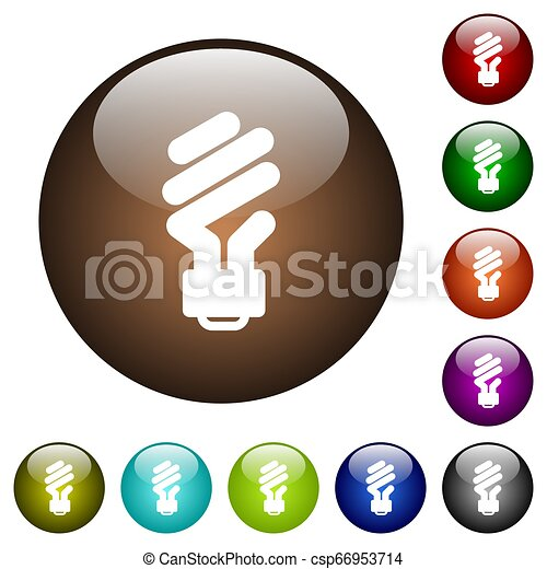Energy saving fluorescent light bulb color glass buttons - csp66953714