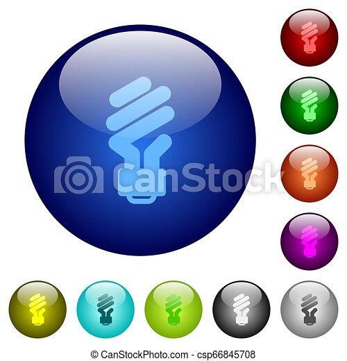 Energy saving fluorescent light bulb color glass buttons - csp66845708