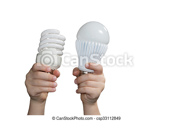 Energy-saving lamps in childrens hands - csp33112849