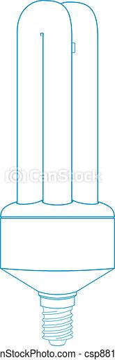 Energy Saving Light Bulb - Technical Illustration - csp8814901