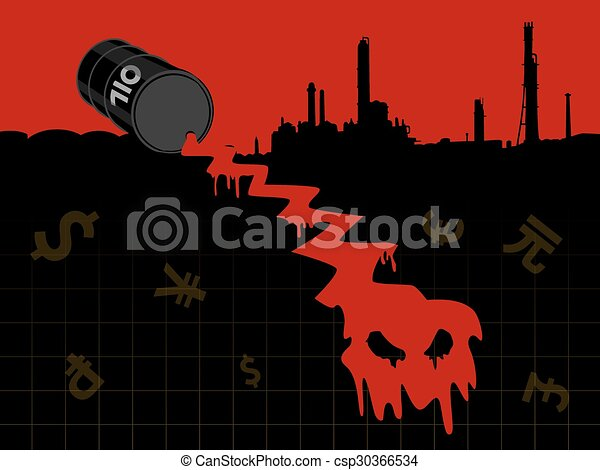 Energy201509_Crude oil price fall down abstract illustration with red leaked oil from barrel to earth with refinery plant - csp30366534