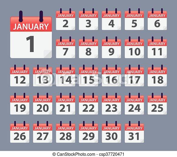 Calendario Diario.Enero Calendario Diario Plantilla