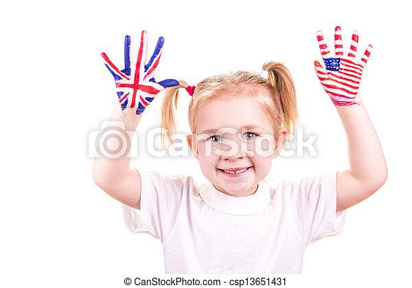 enfant, drapeaux, américain, hands., anglaise - csp13651431