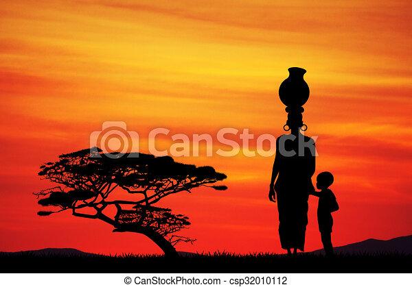 Enfant femme paysage africaine - Dessin paysage africain ...